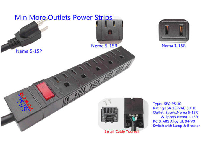 American 10 Outlets Slim Plug Power Strip With Side Socket , Power Distribution Unit
