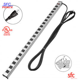 Heavy Duty Slim Multi Outlet Power Strip , 20 Outlet Grounded Multi Plug Extension Cord